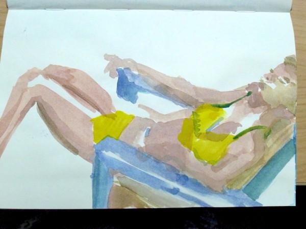 Gabie in the bright yellow bikini