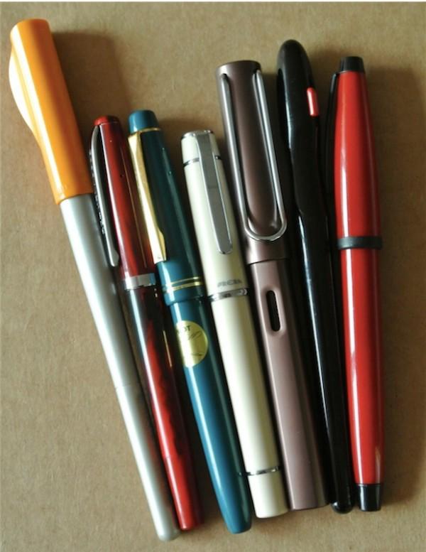 Pilot Parallel Pen, Noodler's Creaper, Pilot 78G, Pilot Prera, Lamy Safari, Pilot Handwriting Pen, Cross Solo