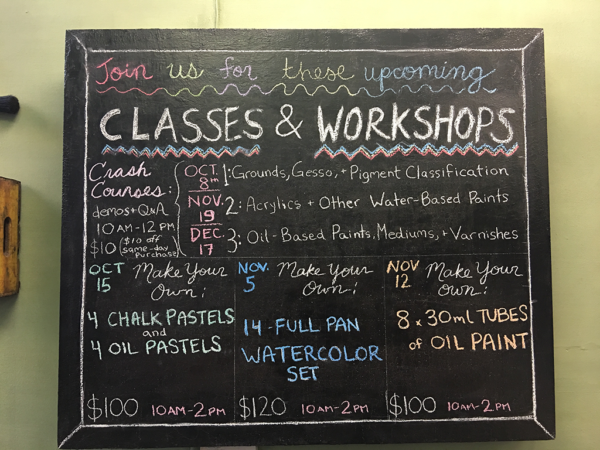 Kremer Pigments class chalkboard
